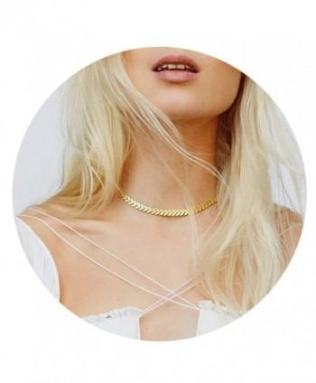 Defiro Delicate Fishbone Choker V Shape Chevron Choker Necklace Women Jewelry Gold Tone - Gold - C4185MIGYQ5