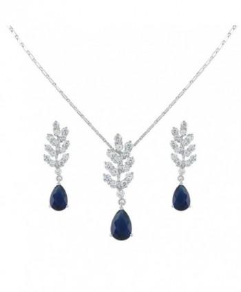 EVER FAITH Women's Cubic Zirconia Art Deco Tear Drop Leaf Necklace Earrings Set Blue Silver-Tone - CQ11PI2YPS5