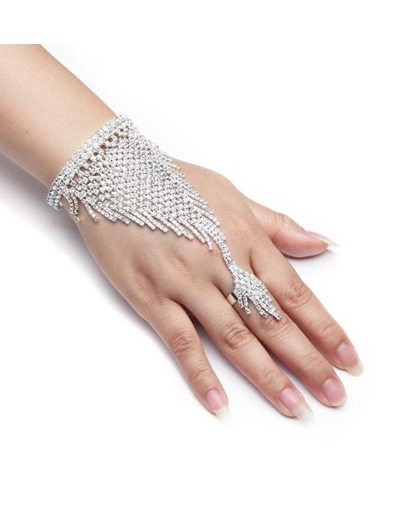 YUXI Silver Wedding Bride Hand Harness Latin Dancer Austria Crystal Bangle Finger Ring Free Size (Style 7) - C5182WA4AUX