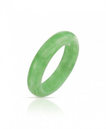 Bling Jewelry Dyed Green Jade Band Modern Ring - C411KPNHGR9