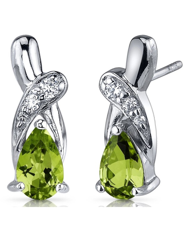 Peridot Earrings Sterling Silver Tear Drop CZ Accent 1.50 Carats - C0116NSDWH3