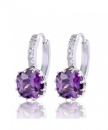 GULICX Bling White Gold Electroplated Purple Amethyst Color Cubic Zirconia Huggie Hoop Earrings - CX11XF6ZNMD