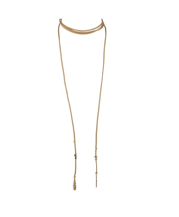 Lux Accessories Boho Tan and Goldtone Feather Suede Choker Lariat Necklace - C712LQ59CPN