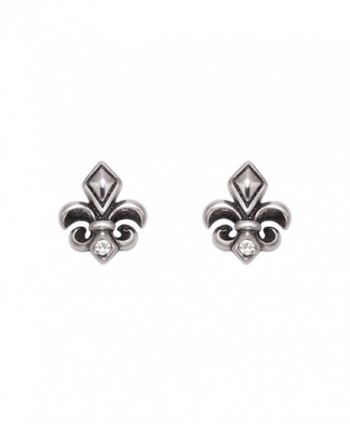 Stainless Steel Fleur De Lis Stud Earrings w/Faceted Crystal Stones - C6119E75XJF