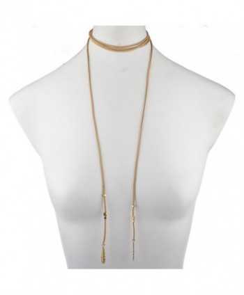 Lux Accessories Goldtone Feather Necklace
