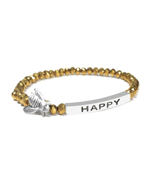 Bumble Bee Happy Inspirational Quote Bracelet Bead Stacking Stretch Made in USA Made in USA - Gold - CX12O8ES6XE