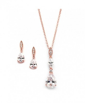 Mariell 14K Rose Gold Plated Teardrop CZ Wedding Necklace and Earrings Set for Bridal or Bridesmaids - CU17Y4U82SI