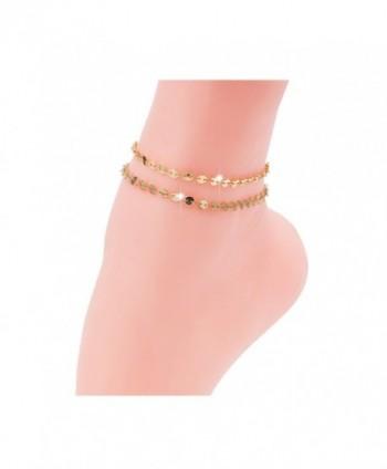 Sundear Golden Layered Coin Anklet Sequins Armlet for Women - Gold Coin Anklet - C9184HXDGKZ