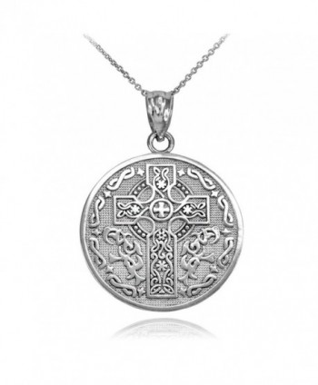 925 Sterling Silver Reversible Irish Blessing Pendant Necklace - CF12O1BT7C9