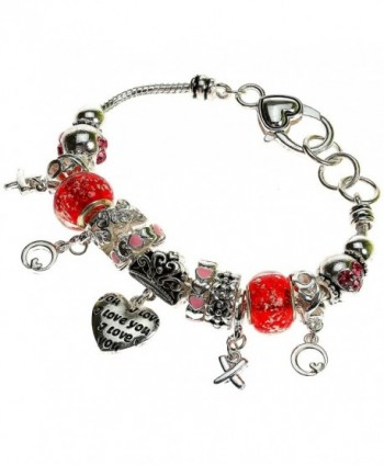 "Lova Jewelry Silvertone and Red ""I Love You"" Charm Heart Bracelet - CD11VQ73I5H"