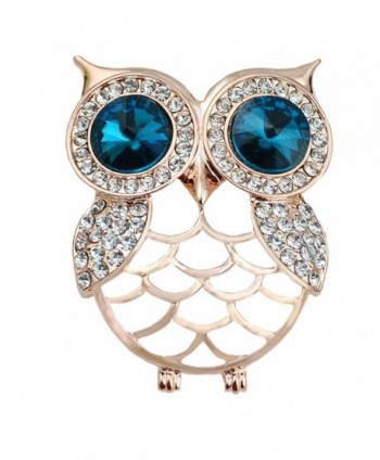 Gyn&Joy Jewelry Gold Tone Crystal Rhinestones Hollow Cute Owl Bird Brooch BZ023 - CP17AZC32GU