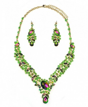 Women's Evening Gala Necklace and Earring Set - Vine Design with Marquise Leaves - Green AB/Gold-Tone - CN12F1I30U9