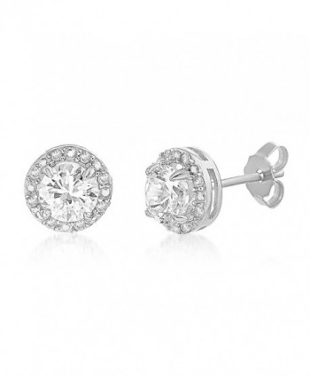 Lesa Michele 1/10 Cttw Genuine Diamond & Lab Created White Sapphire Stud Earring - CB1882C9Y7U