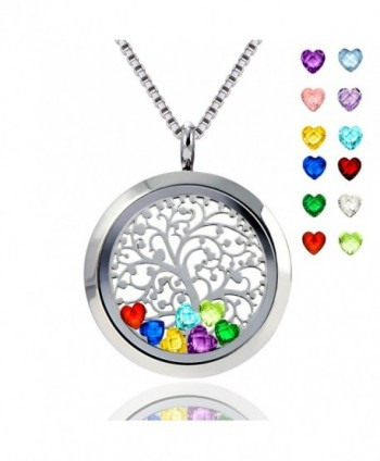 Floating Locket Pendant Necklace Heart Crystal Family Tree of Life Necklace All Birthstone Charms Include - CS186IEDMMM