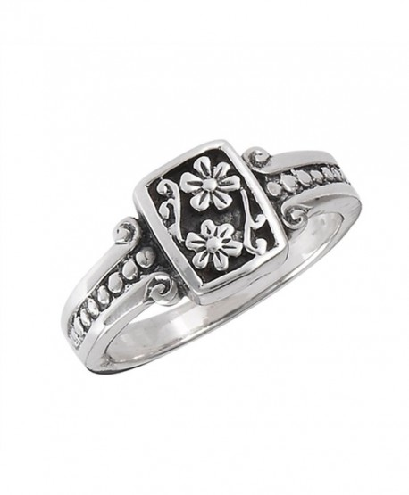 Oxidized Flower Daisy Vintage Beaded Ring .925 Sterling Silver Band Sizes 5-8 - CY182EWZ03W