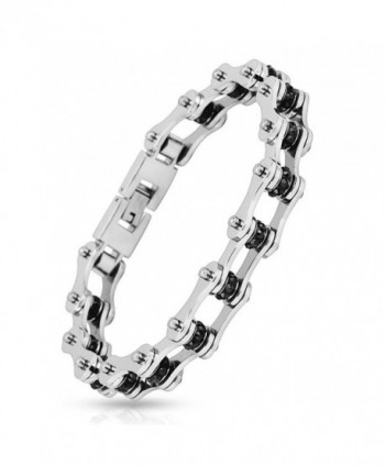 Motorcycle Chain Black Gem Link 316L Stainless Steel Biker Bracelet - 9 inches (Sold Ind.) - CC11UX20KN9