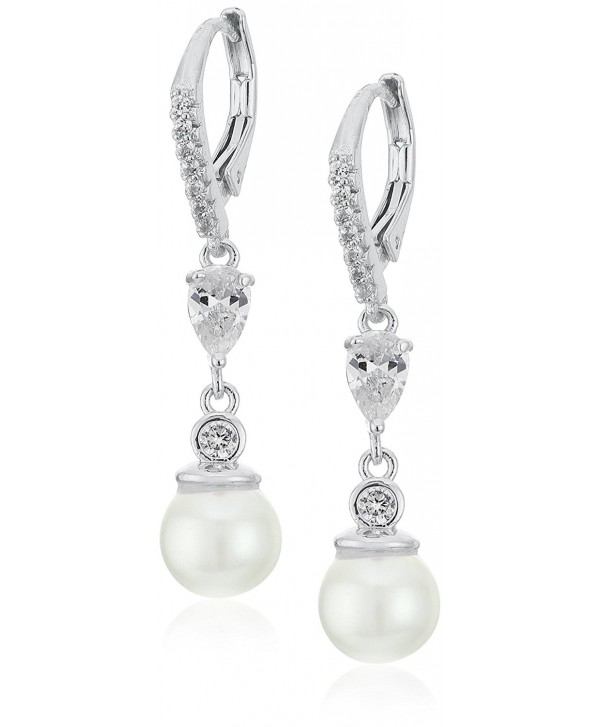 "Anne Klein ""Precious Pieces"" Pearl and Cubic Zirconia Linear Post Drop Earrings - Silver - CD12BGRH0OB"