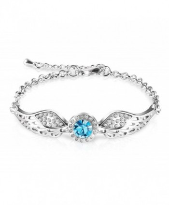 "Queenees ""Angel Wings"" Swarovski Crystal Bangle Bracelet Love Desinged Jewelry- 7"" - Blue - CJ12HDVWG11"