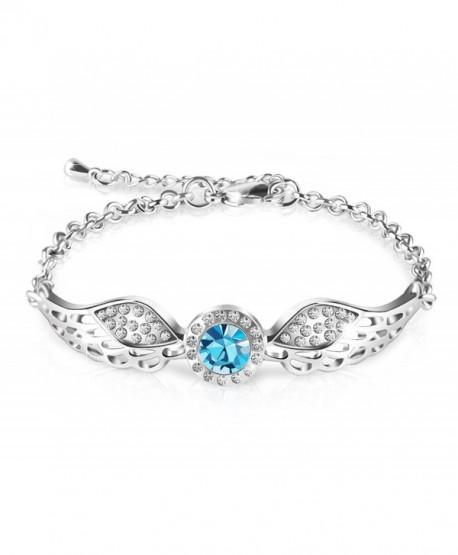 """Queenees """"Angel Wings"""" Swarovski Crystal Bangle Bracelet Love Desinged Jewelry- 7"""" - Blue - CJ12HDVWG11"""