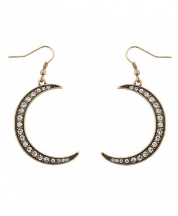 Lux Accessories Galaxy Crescent Moon Pave Crystal Dangle Earrings - CO11WUVX4WP