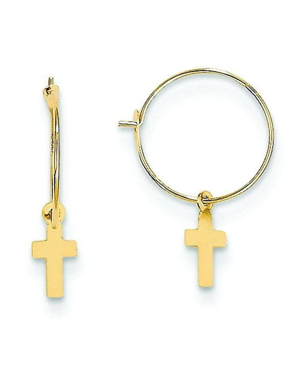 14K Yellow Gold Endless Hoop Cross Earrings Jewelry - CW113D9SWLB