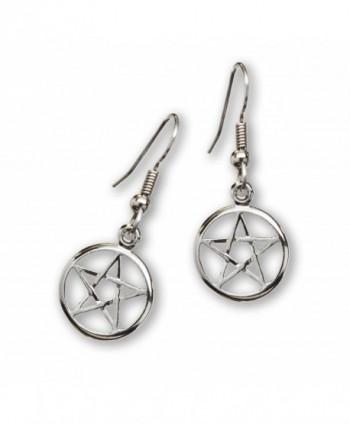 Mystical Wiccan Pentacle Pentagram Pewter Dangle Earrings - CY12EVWGA6V