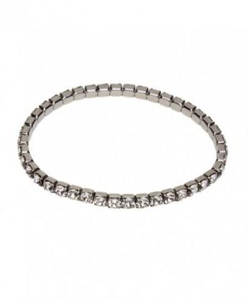Designs by Nathan- Rhodium Plated Stretch Tennis Bracelet- 4mm Round Brilliant Crystals from Swarovski - CG12188F83N