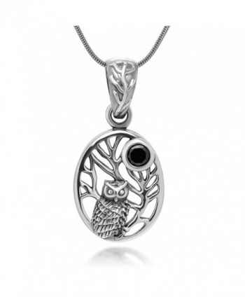 925 Oxidized Sterling Silver Owl Tree Midnight Black CZ Full Moon Oval Pendant Necklace- 18 inches - CK11V0OJWUV