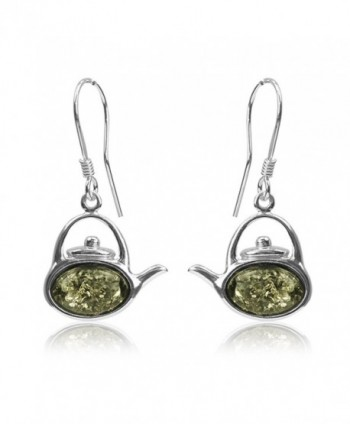 Sterling Silver Green Amber Tea Kettle Hook Earrings - CN11FIIY5FR