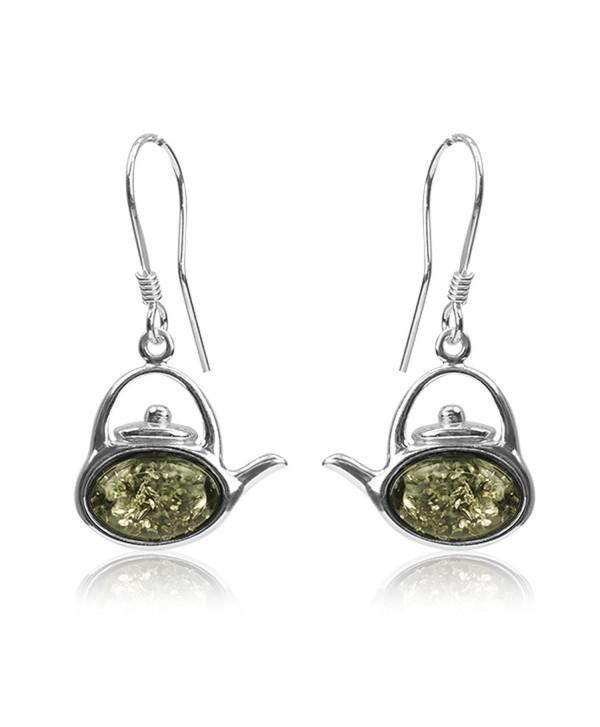 Sterling Silver Green Amber Tea Kettle Hook Earrings - CN11FIIY5FR