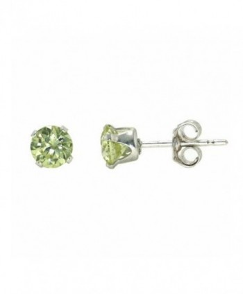 Sterling Silver Light Green 3mm Round Cubic Zirconia CZ Stud Earrings - CM115OX2LLB