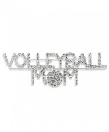 Proud Volleyball Mom Silver Tone Pave Clear Crystal Script Pin Brooch Sport - CG11QI5Q62T