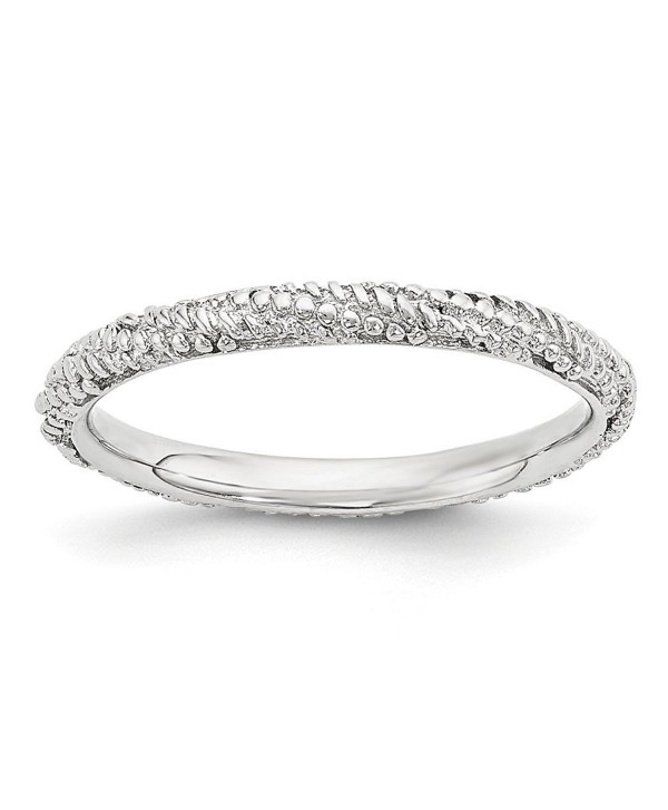 2.25mm Rhodium Plated Sterling Silver Stackable Textured Band - CY12K7JFN7Z