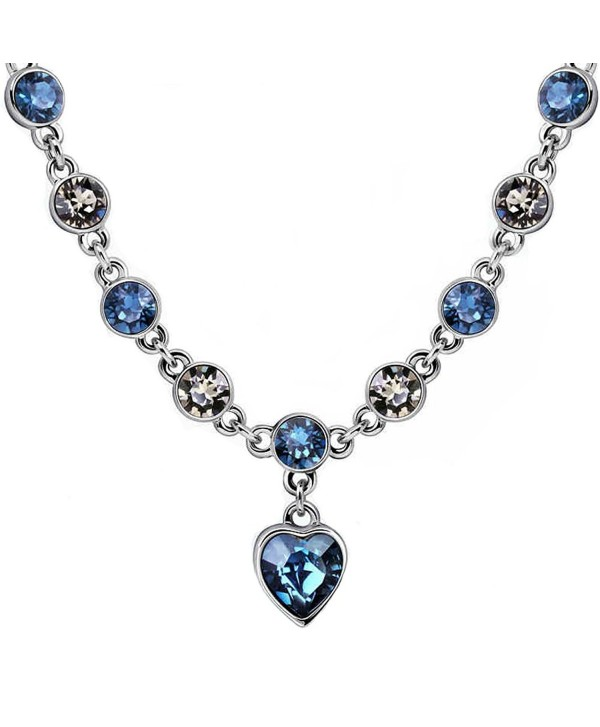 Love Heart Necklace with Swarovski Crystal Adjustable Choker Necklace Valentine's Day gift Gift - Blue - CH186OXAIXA