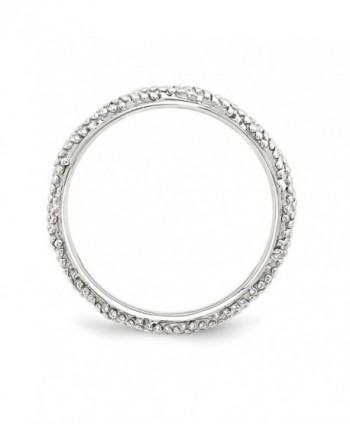 2 25mm Rhodium Sterling Stackable Textured