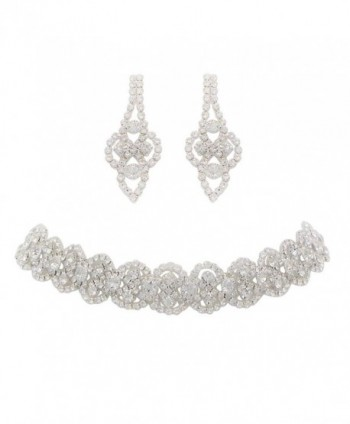 Rosemarie Collections Women's Crystal Statement Choker Necklace and Earrings Set - CC17XSY7SWU