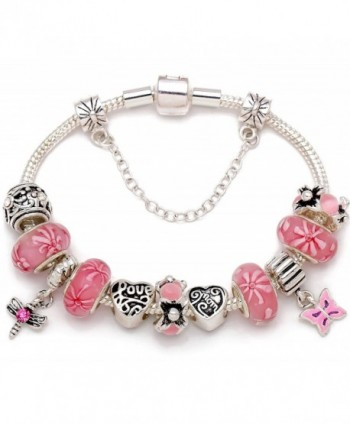A Garden Of Love Grows In A Mother's Heart Pink Flower Bead Charm Silver-tone Bracelet - CQ124TTPQP3
