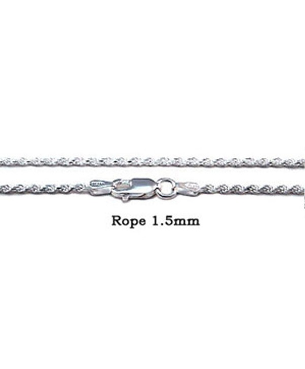 Sterling Silver 1.5MM Diamond Cut Rope Chain with Lobster Clasp Closure - C711ZQR8OJX