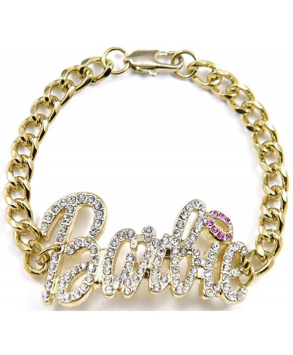 Barbie Iced Out ID Style Bracelet Gold Color With Pink Lips - CB110Z1S9B3