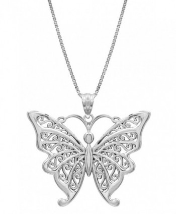 "Sterling Silver Butterfly Necklace Pendant with Filigree Wings with 18"" Box Chain - CI119FNY5ZV"