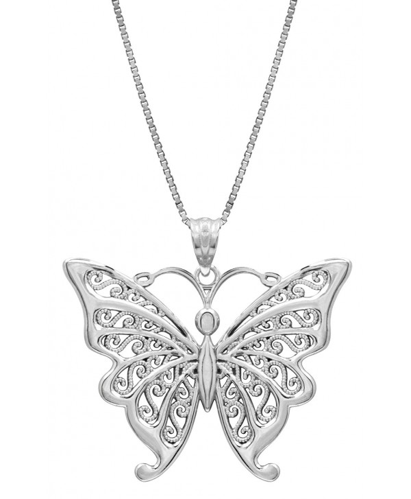 """Sterling Silver Butterfly Necklace Pendant with Filigree Wings with 18"""" Box Chain - CI119FNY5ZV"""