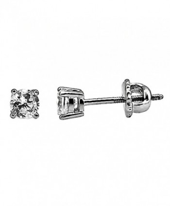 Candi: 4mm- 0.50ct Brilliant Cut Ice on Fire CZ Screw-Back Stud Earrings 925 Sterling Silver- 3118A - CM11GV0B2ST