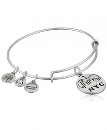 "Alex and Ani Places We Love NYC Skyline Expandable Wire Bangle Bracelet- 7.25"" - Rafaelian Silver Finish - CJ11FZULIYT"
