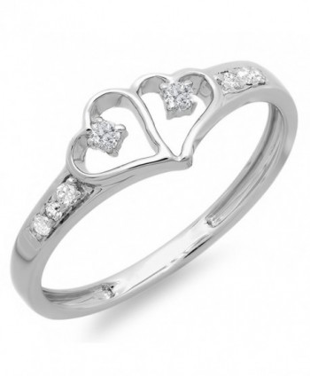 0.15 Carat (ctw) Sterling Silver Round White Diamond Ladies Promise Double Heart Love Engagement Ring - CY11CA9Z67R