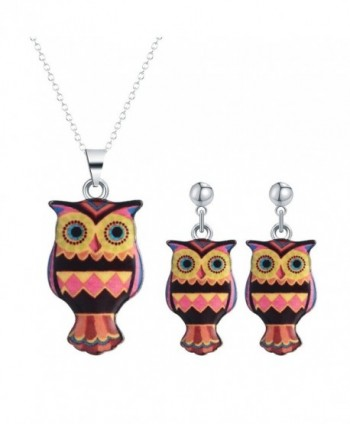 Ethnic Style Cute Animal Colorful Night Owl Necklace Stud Earring Jewelry Set for Women Girls - CH12O3MCKEE