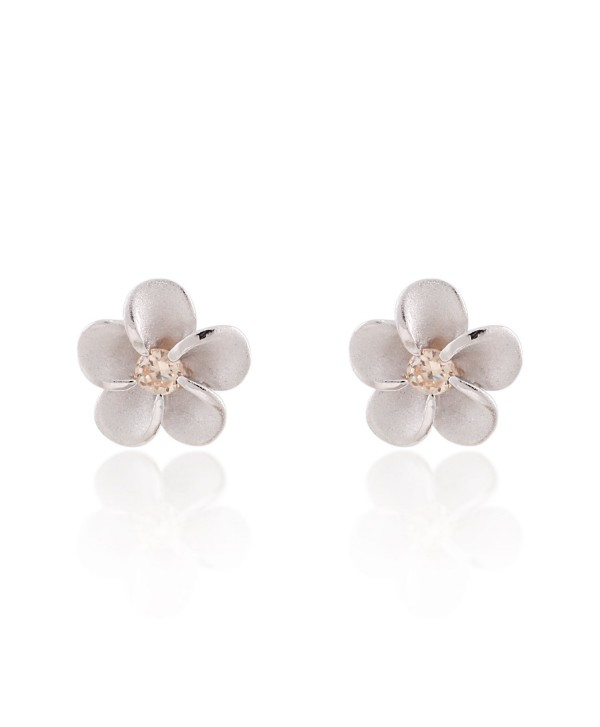 925 Sterling Silver Mini Plumeria Hawaiian Flower with Cubic Zirconia- Matte Finish Stud Earrings - C311NUV17JB