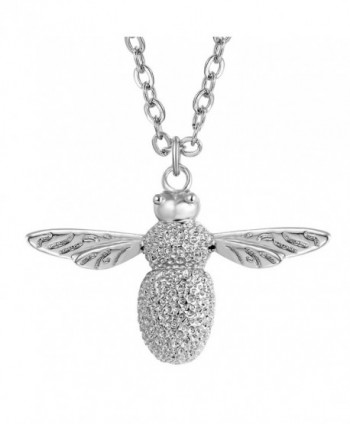 "Fancilla Dainty Bumble Bee Pendant Necklace for Women in Gold/Silver Tone- 18"" - Silver - CF183SEC20A"