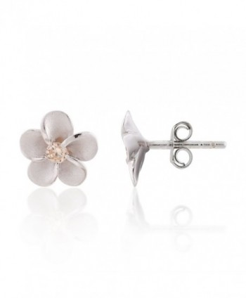 Sterling Plumeria Hawaiian Zirconia Earrings