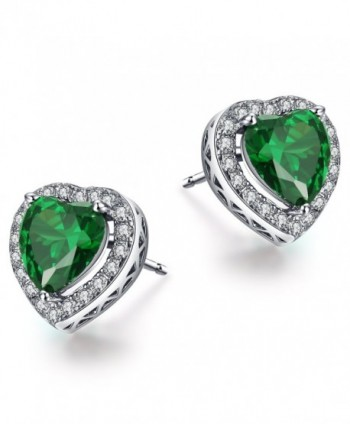 Caperci Sterling Silver Created Emerald Heart Shape Earrings Studs for Women - Valentines Day Gift to Her - C112N184OE4
