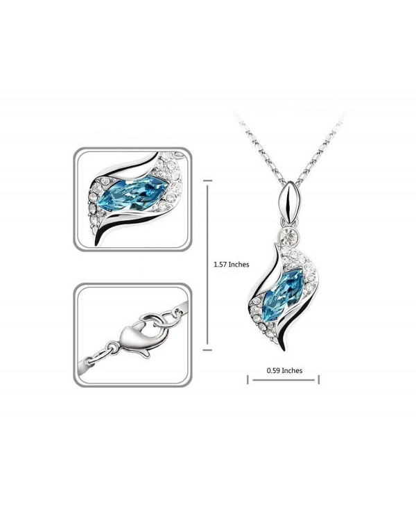Fortunal Teardrop Jewelry Set Crystal Fashion Earrings Pendant Necklace with Box Package - Ocean blue - C011PSXXMPB
